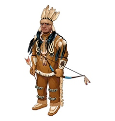 Native American with bow and arrow vector image