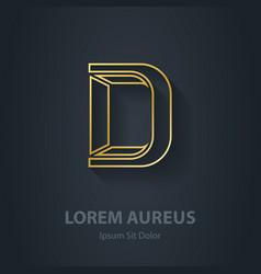 Outline Letter D elegant gold font Template for vector image