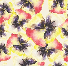 Pattern with watercolor flowers vector