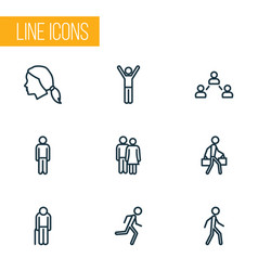 People outline icons set collection of jogging vector