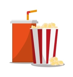 Pop corn and soda of carnival design vector