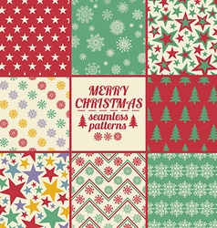 Retro Set Of Christmas And New Year Seamless vector image