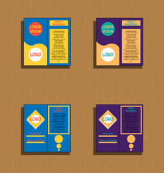 Set of brochures and abstract flyer design vector