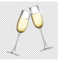 Two glass of champagne isolated on transparent vector