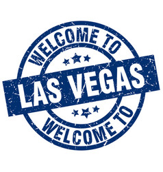 welcome to las vegas blue stamp vector image vector image
