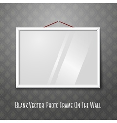 white horizontal photo frame hanging on the wall vector image vector image