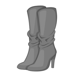 Women boots high heel icon gray monochrome style vector