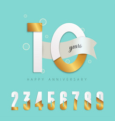 10 years anniversary emblem set of numbers vector