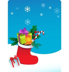 Christmas background with sock and gifts vector