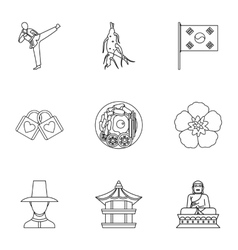 Tourism in south korea icons set outline style vector