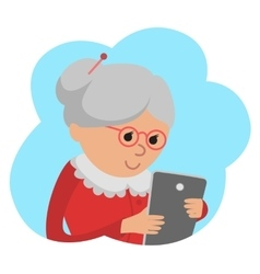 Elderly woman use tablet vector