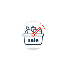 food basket grocery order shop sale special offer vector image