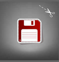 Floppy disk sign  red icon with for vector