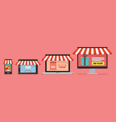 online shopping concept in flat style vector image