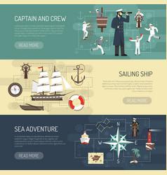 Sailing horizontal banners webpage design vector