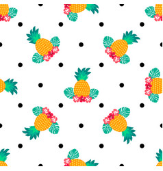 Seamless tropical pattern with pineapples vector