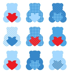 Cute Teddy Bear with hearts set isolated on white vector image