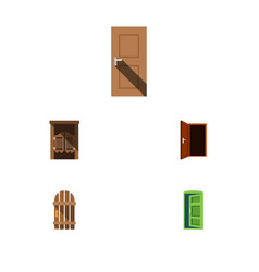 Flat icon approach set of wooden fence approach vector