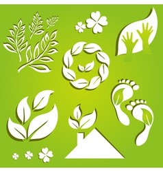 set of 7 eco icons vector image