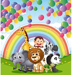 Animals below the floating balloons and rainbow vector