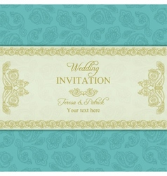 Turkish cucumber wedding invitation gold and blue vector
