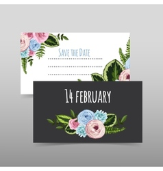Set of valentines cards with painted flower vector