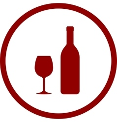 Red wine bottle and glass in round frame vector