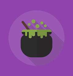 Halloween flat icon witch pot vector