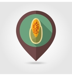 Corncob flat mapping pin icon with long shadow vector