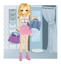 Fashion girl chooses clothes vector