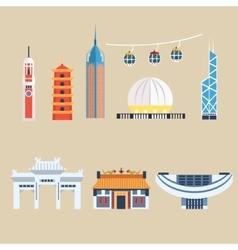Modern Chinese Buildings Hong Kong travel vector image