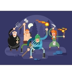 People with torches and pitchforks vector