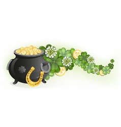 Horseshoe and pot of gold vector