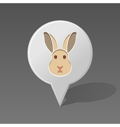 Rabbit pin map icon animal head vector