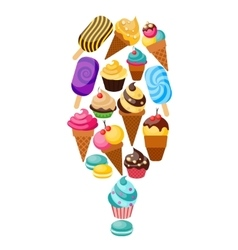 Sweets cupcakes composition vector
