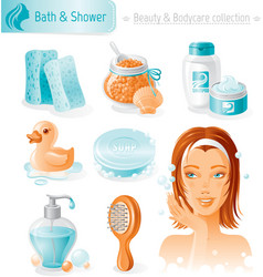 Beauty and cosmetics icon set with beautiful young vector image