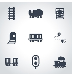 Black railroad icon set vector
