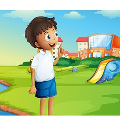 A boy at the school playground vector