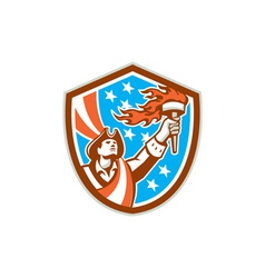 American Patriot Holding Torch Flag Shield Retro vector image vector image