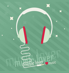 Audio headphone flat vector