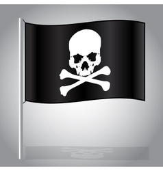 Black pirate flag with skull and bones eps10 vector