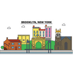 brooklyn new york city skyline architecture vector image vector image
