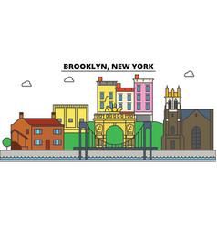Brooklyn new york city skyline architecture vector