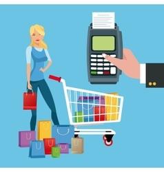 Cart dataphone girl and shopping design vector