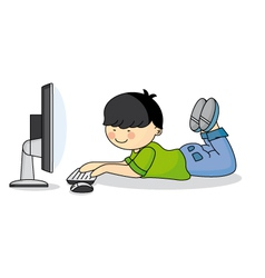 Child using the computer vector image