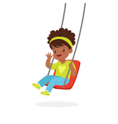 cute little girl playing swing kid have a fun on vector image