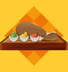 Delicious roasted chicken thigh and sauces menu vector
