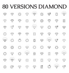 Diamonds a large set of different versions vector image vector image