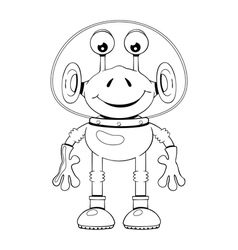 Funny cartoon alien in spacesuit vector