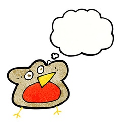 Funny cartoon robin with thought bubble vector